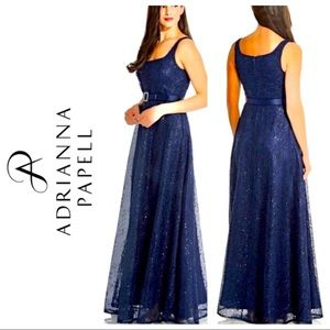NWT Adrianna Papell Dot Sequin Gown